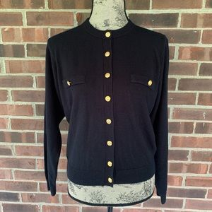 Vintage black cardigan with gold buttons
